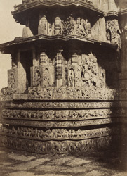 [Close view of small shrine at north-west corner of the Hoysalesvara Temple, Halebid.]
